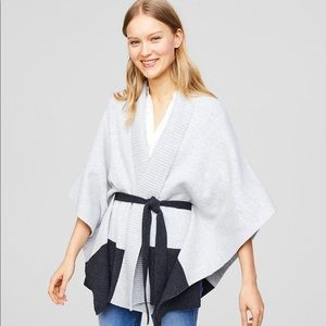 Loft Belted Colorblock Cardigan Poncho XS/S